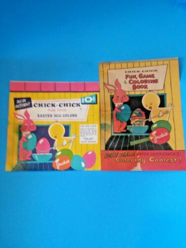 VTG CHICK-CHICK  Easter Egg Colors Dye Envelope w/ Fun, Game & Coloring Book HTF