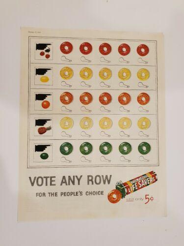 Original Vintage 1956 Lifesavers Five Flavors Vote Any Row Election ad