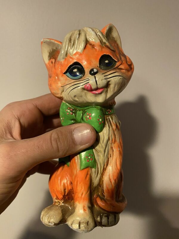 "Vintage 1960's Holiday Fair 8"" Orange  Cat With green Floral Bow Bank - Ceramic"