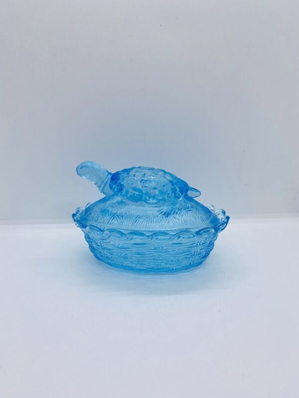 Vintage LG WRIGHT Blue Turtle on a Nest Covered Dish