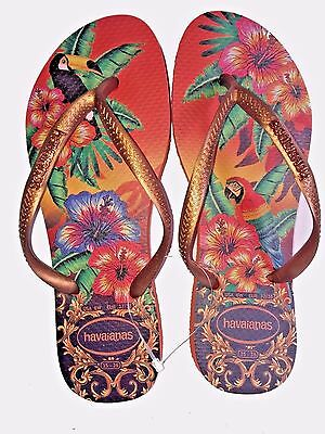 Havaianas Tropical pampkin Slim Women's Flip Flops with metallic logo All sizes