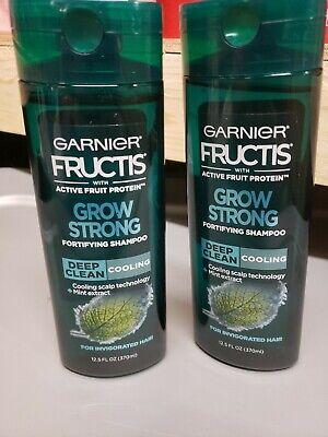 2PK Garnier Fructis Grow Strong Cooling Deep Clean Shampoo MEN Invigorated Hair ()