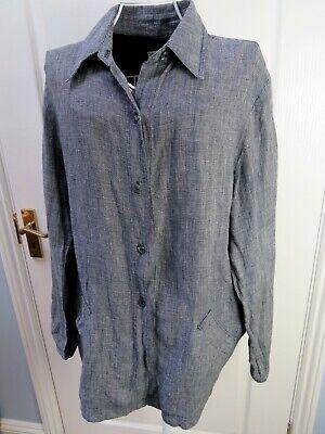 New HELENE BERMAN LONG TALL SALLY Linen Shirt Top Pockets Lagenlook Size 18 Plus