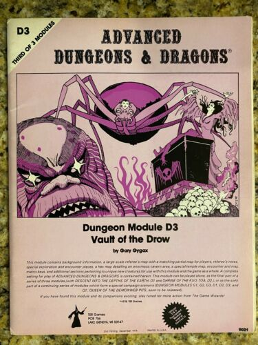 D3 VAULT OF THE DROW MONOCHROME / AD&D DUNGEONS & DRAGONS / TSR 9021