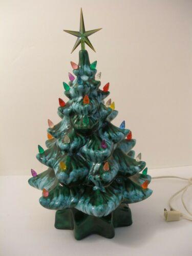 "Vtg Turquoise glaze Ceramic Christmas Tree, 15"" tall w/ star and bulbs"