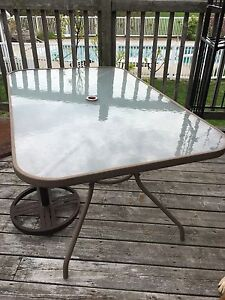 Glass patio table