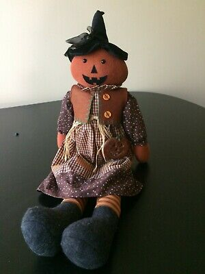 "VINTAGE FALL/HALLOWEEN 26 INCH RUSS ""JACK-O-LYNN"" STUFFED RAG DOLL. NEW W/TAGS"