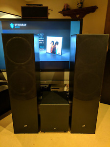 (2) PA Precision Acoustic Tower speakers, subwoofer & Receiver