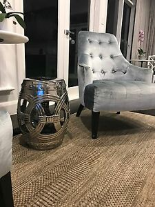 Ceramic silver stool (decorative drum) Strathmore Moonee Valley Preview