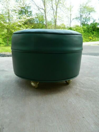 Vintage Hunter Green Rolling Ottoman Foot Stool w/ Wheels