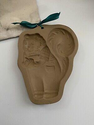Vintage Brown Bag Cookie Art Mold Squirrel Wearing Overalls 1993 Hill Design