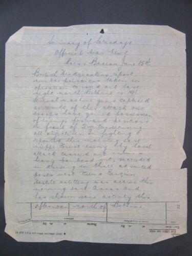1918 WW1 Telegraph Bulletin June 17 Fighting In France f3-34