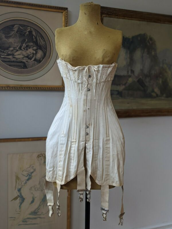"Antique Corset Edwardian Era ""Kabo"" Circa 1900 1910 Lace Trim Historical Dress"