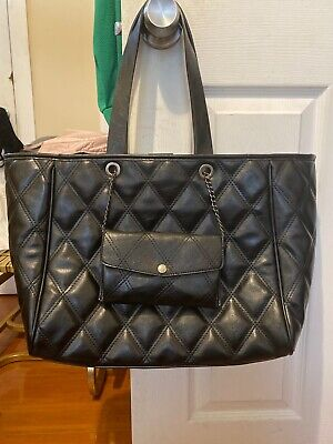 Zara Black Padded Quilted Bag Tote With Detachable Chained Purse