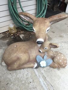 Concrete Deer and Fawn