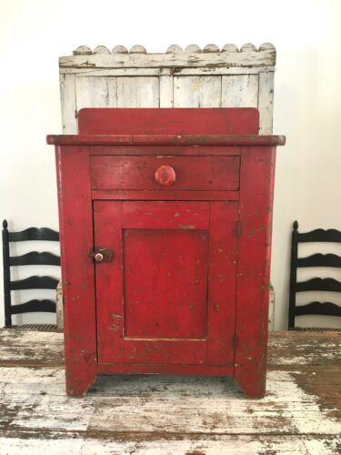 AAFA FOLK ART ANTIQUE ORIGINAL PAINT PRIMITIVE RED WOOD CABINET DOVETAILED