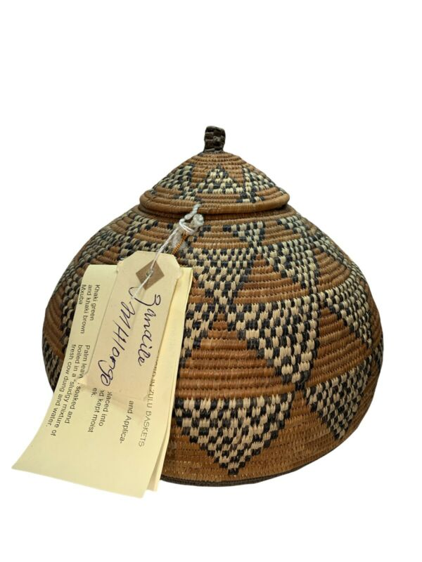 Traditional Handmade Zulu Basket With Lid Tri-Color Woven South Africa