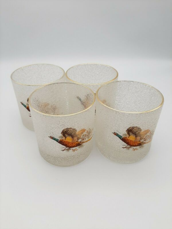 Set of 4 West Virginia Embossed Pheasant Old Fashioned Glasses 8 oz MCM Whiskey