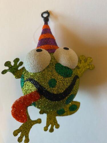 Pier 1 One Imports Halloween Green Frog w/ Orange & Purple Hat Glitter Ornament