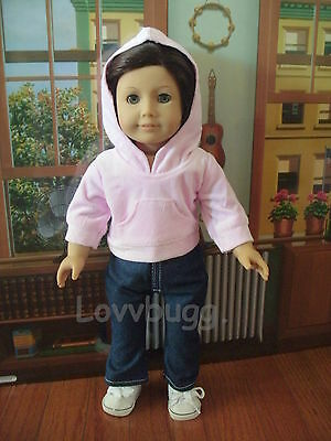 Jeans Pants with Pink Hoodie Set 18 inch American Girl Doll Clothes