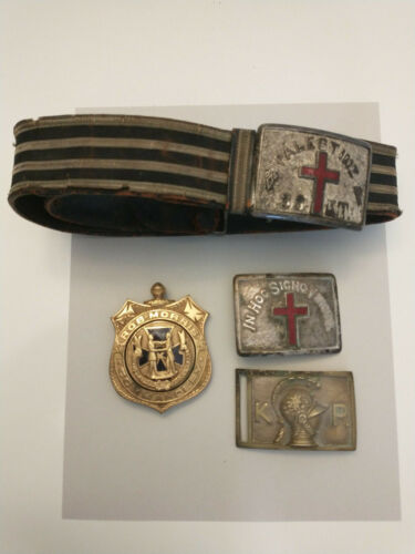 Vintage Fraternal Group: 4 Buckles, 1 on Belt; 3 Pcs Templar, 1 Marked KP