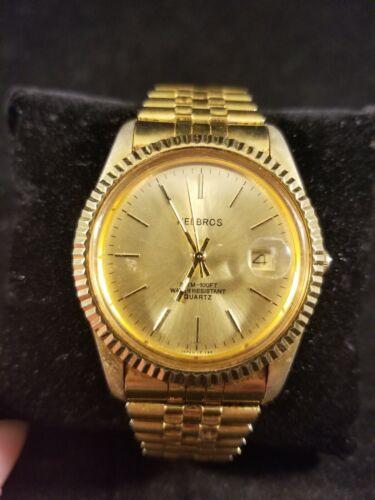 Men s Helbros Gold Watch Bubble Date Stretch Wristband 321-2115 HE1294 Quartz - $19.95