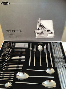 Stellar Rochester 44 Piece 18/10 Polished Cutlery Set - Boxed - BL58, NEW