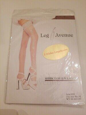Leg Avenue White Sheer Thigh High Stocking Lace top WEDDING BRIDAL BELLS (Bells Sheer Thigh High Stockings)
