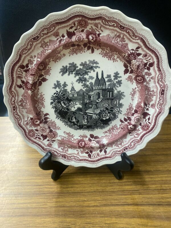 """Antique Two Color Transferware Staffordshire """"Indian Temple"""" Plate"""