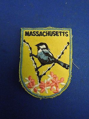 Vintage Massachusetts State Flower State Bird Souvenir Embroidered Sew On Patch