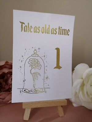 Wedding Table Number Cards Disney Theme Beauty And The Beast Gold