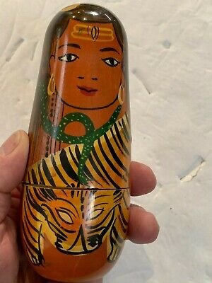 Nesting Dolls 5 sizes Tiger Lady Hand Painted Unique