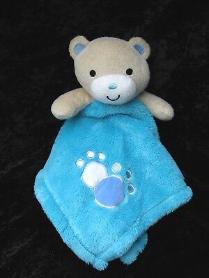 Baby Gear Turquoise Teal Bear Pawprints Lovey Soft Security Blanket 15x15