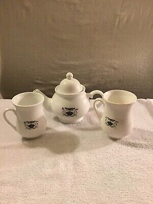 Walkers of London Collectible Tea Set Black and White Teapot and Cup 3 Piece Set ()