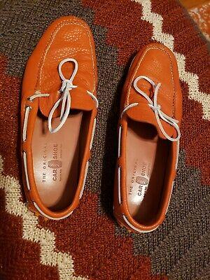 The Original Car Shoe Men's Orange Leather Driving Loafers Size 9.5