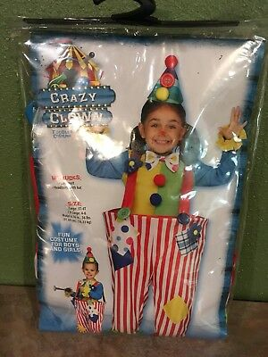 CRAZY CLOWN Toddler Costume Size XLarge 4-6 Dress Up Halloween NEW - Toddler Girl Clown Halloween Costumes