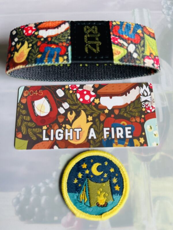 GOLD #45 S:4 ZOX Strap LIGHT A FIRE - Camp Patch Included - Reversible Wristband