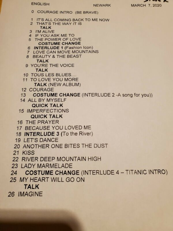 Celine Dion Set List Concert Newark nj 2020