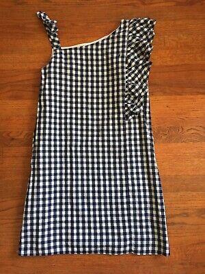 Nautica Girls Dress XL 16 NWT Blue White Checkered Cotton Sundress Ruffle Summer