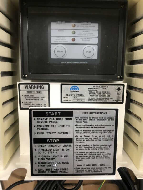 CNG Fuelmaker Remote Start Panel model R410, Hose,cable and instructions
