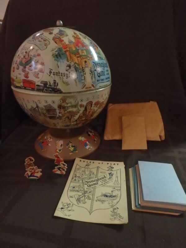 "Walt Disney and Rand McNally ""Disneyland Game - A World in Itself"" globe VGC"