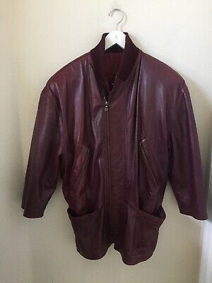 Vintage 1980's Gianni Versace Men's 3/4 Sleeve Maroon Bomber Leather Jacket Rare