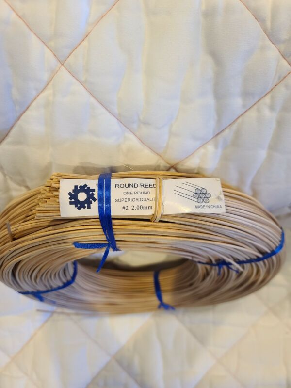 1 Round Reed #2 2.00 mm 1 lb Coil for Weaving Bound Unused Basket, Chair, Caning