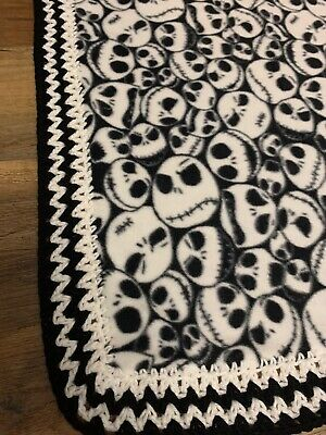 36x40 Handmade Fleece Soft Blanket With Crochet Trim Nightmare Before Christmas