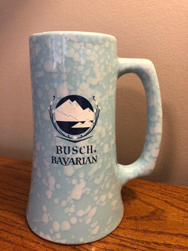 "VINTAGE BUSCH BAVARIAN BEER CERAMIC 6.5"" BLUE MUG VERY RARE"