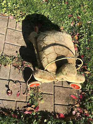 Vtg 1950's Rare Hard to Find Large Childs Steiff Turtle Ride-On Wheels Pull Toy