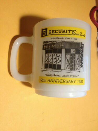 Vintage 1981 50TH ANNIVERSARY COFFEE MUG SECURITY STATE BANK SUTHERLAND, IOWA