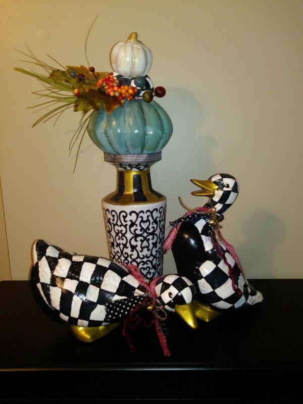 Mackenzie Childs Inspired Courtly Check Hand painted Set of DUCKS Custom