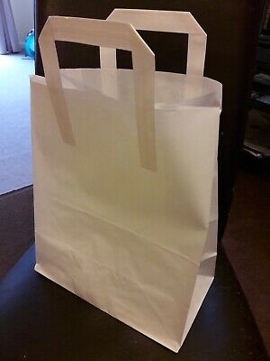 80 X WHITE  KRAFT PAPER CARRIER BAGS WITH HANDLES 10 X 12 X 5.5 INS.