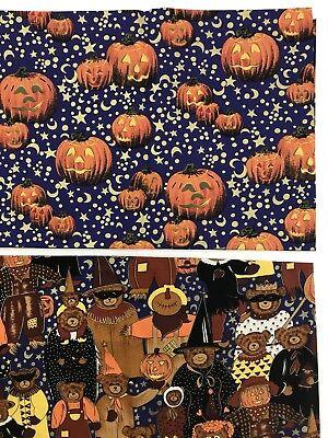 Hi Fashion Fabric Halloween Quilt Cotton Metallic Bears 5/8yd and Pumpkins 1/2yd - Hi Halloween